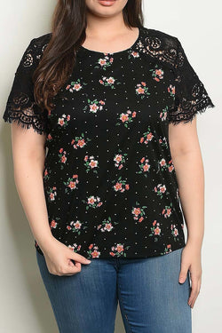 Lace & Polka Floral Top