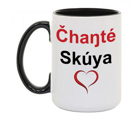 Čhaŋté Skúya Mug With Colored Handle and Rim
