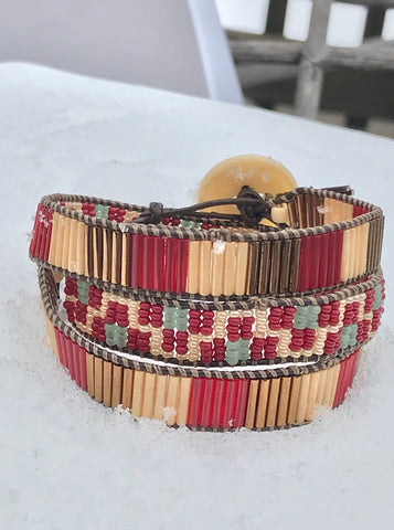 Gold & Red Wrap bracelet