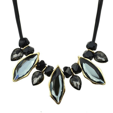 Black Water Drop Choker Statement Necklace