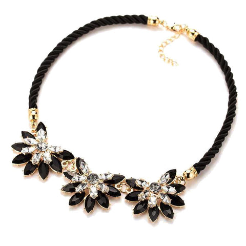 Flower Rhinestone Choker Necklace