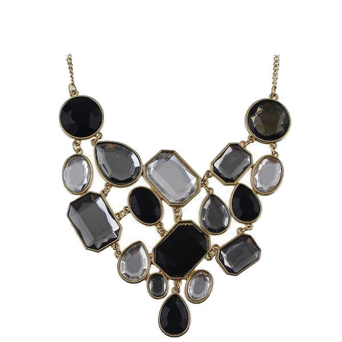 Black & Grey Rhinestone Choker Statement Necklace