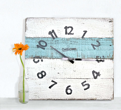 White & Aqua Large Rustic Wall Clock - Arbuckles-Goathopper-1