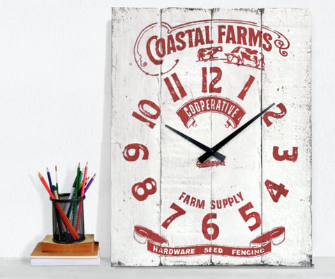 White & Red Farm Supply Farmhouse Wall Clock - Howick