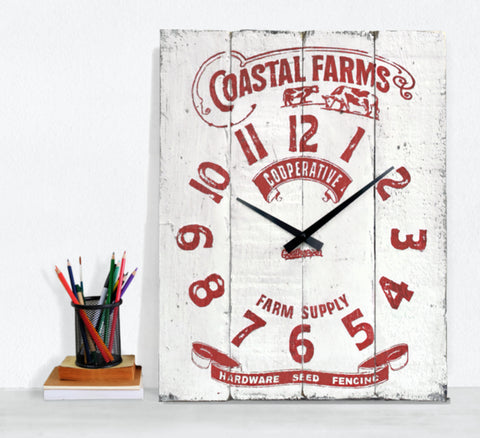 White & Red Farm Supply Farmhouse Wall Clock - Howick-Goathopper-1