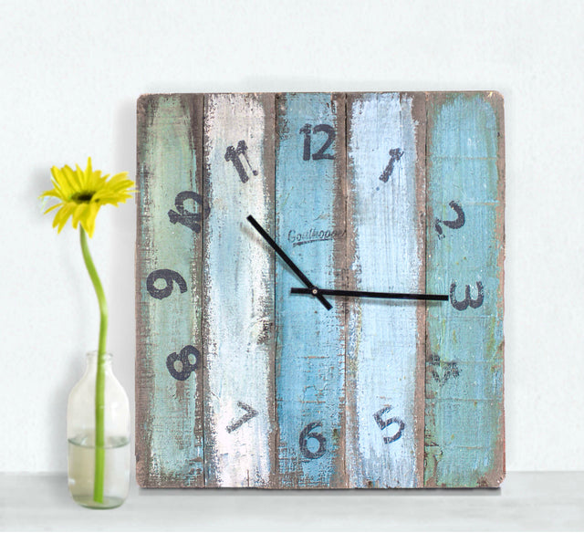 Muted Blues Large Wall Clock - Huntington