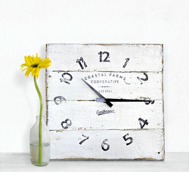 White Farmhouse Decor Clock - Barkley-Goathopper-1