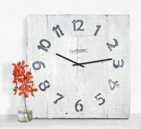 Coconut White Farmhouse Wall Clock - Brigantine-Goathopper-1