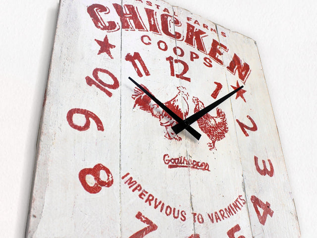 White & Red Chicken Coop Farmhouse Wall Clock - Cassidy-Goathopper-1