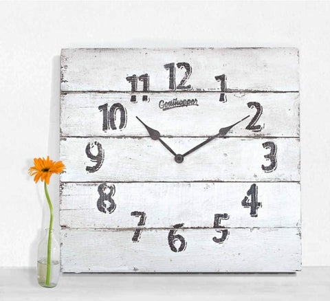White Farmhouse Extra Large Wall Clock - Tybee-Goathopper-1