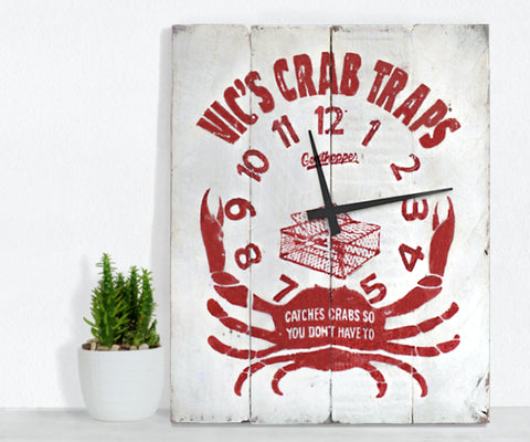 White & Red Crab Trap Farmhouse Wall Clock - Abbey
