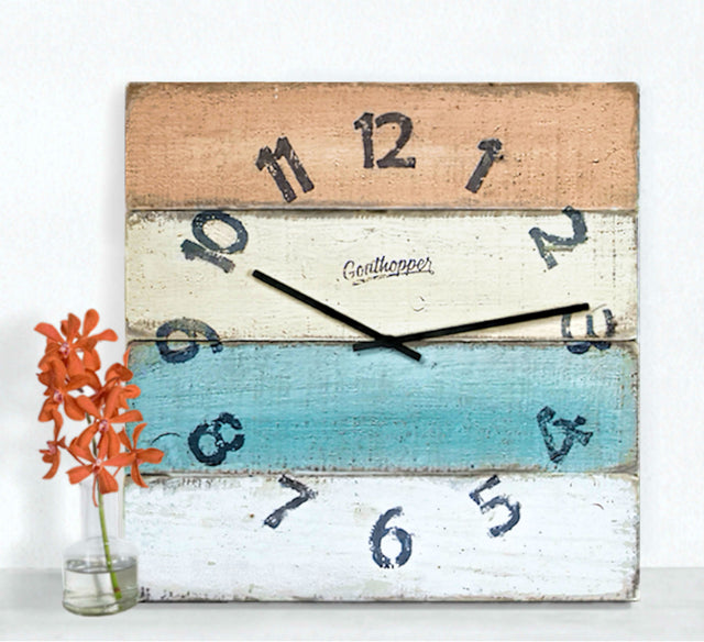 Orange Yellow Aqua Beach Wall Clock - Nantasket