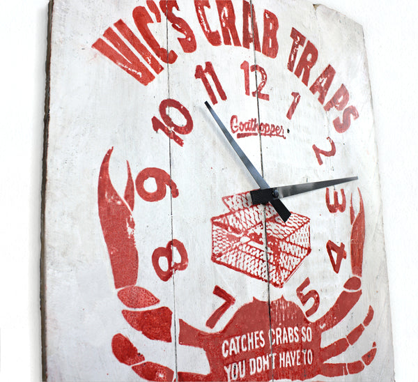 White & Red Crab Trap Beach Sign Wall Clock - Abbey-Goathopper-1
