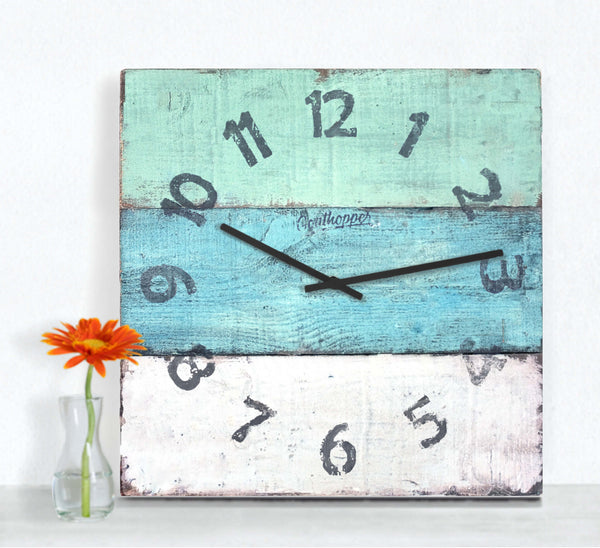 Lime & Aqua Wooden Kitchen Clock - Vilano-Goathopper-1