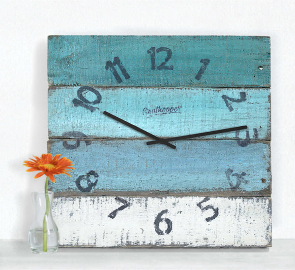 Blue & Aqua Beach Wall Clock - Carlsbad-Goathopper-1