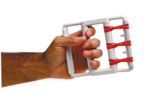 CanDo® Latex Free rubber-band hand exerciser, with 5 red bands