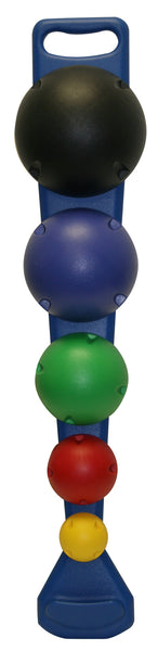 MVP Balance System, 5-Ball Set with Wall Rack (1 each: yellow, red, green, blue, black)