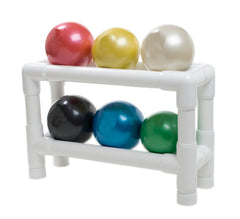 thera-band-soft-weights-ball---6-piece-set-1-each-tan-through-black-with-2-tier-rack
