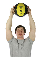 CanDo® Dual-Handle Medicine Ball - 9 in. Diameter - Yellow - 6 lb.