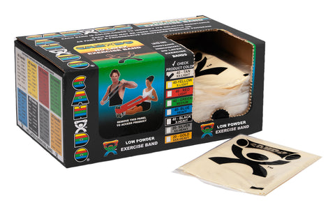 CanDo® Low Powder Pre-cut Exercise Band - box of 40, 4' length - Tan - xx-light