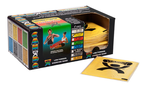 CanDo® Low Powder Pre-cut Exercise Band - box of 40, 4' length - Yellow - x-light