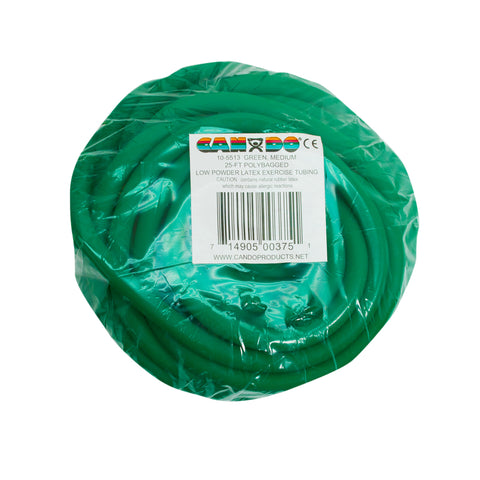 CanDo® Low Powder Exercise Tubing - 25 foot roll - Green - medium