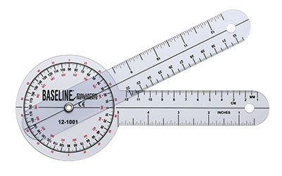 Baseline® Plastic Goniometer - 360 Degree Head - 8 inch Arms, 25-pack