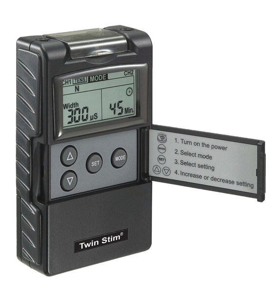 Digital 2-channel EMS/TENS unit, portable/battery, complete