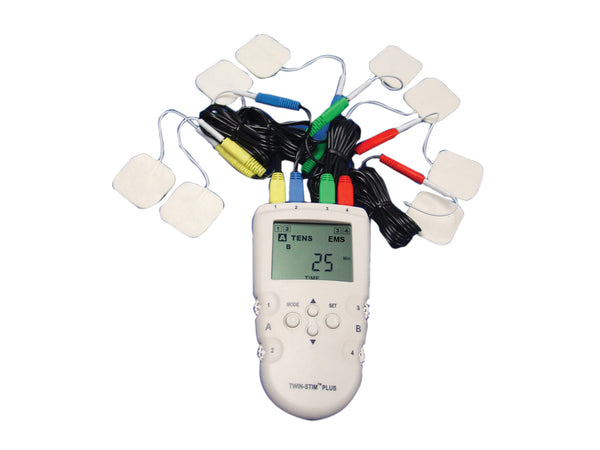 Digital 4-channel EMS/TENS unit, portable/battery or AC adapter, complete