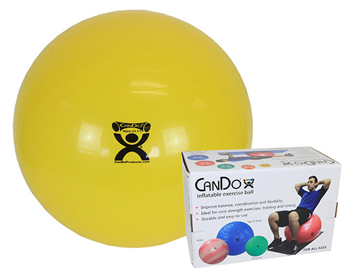 CanDo® Inflatable Exercise Ball - Super Thick - Yellow - 18 inch, Retail Box