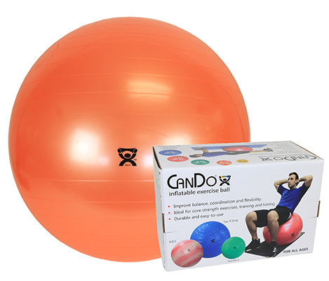 CanDo® Inflatable Exercise Ball - Super Thick - Orange - 22 inch, Retail Box