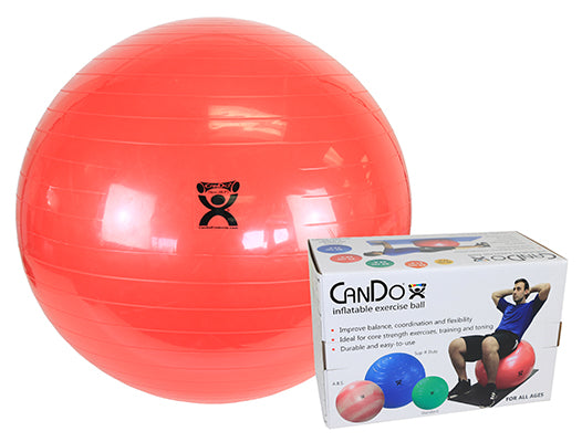 CanDo® Inflatable Exercise Ball - Super Thick - Red - 30 inch, Retail Box