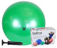 CanDo® Inflatable Exercise Ball - Economy Set - Green - 26 inch ball, Pump, Retail Box