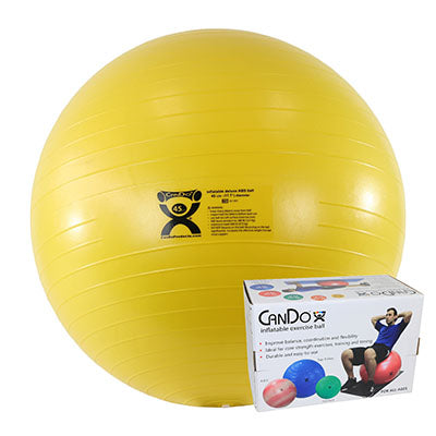 CanDo® Inflatable Exercise Ball - Deluxe ABS Ball - Yellow - 18 inch, Retail Box