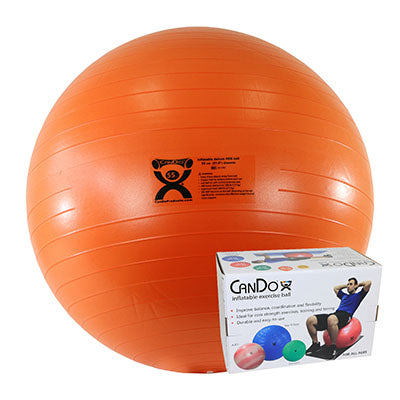 CanDo® Inflatable Exercise Ball - Deluxe ABS Ball - Orange - 22 inch, Retail Box