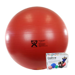 CanDo® Inflatable Exercise Ball - Extra Thick - Red - 30 inch, Retail Box