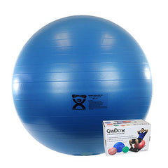 CanDo® Inflatable Exercise Ball - Extra Thick - Blue - 34 inch, Retail Box