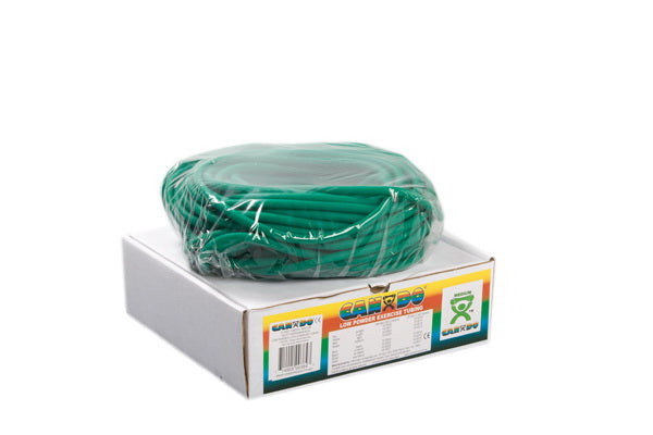 CanDo® Low Powder Exercise Tubing - 100 foot dispenser roll - Green - Medium