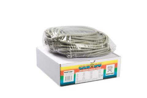 CanDo® Low Powder Exercise Tubing - 100 foot dispenser roll - Silver - xx-heavy