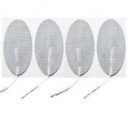 2 in. x 4 in. Oval - White Fabric Top Electrodes Case of 10 (4/pk)