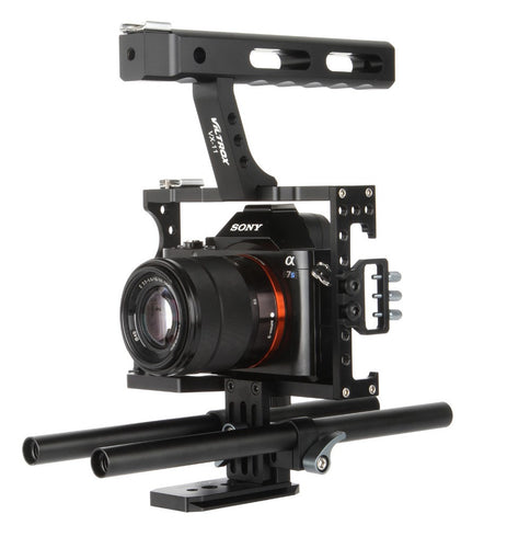 15mm Rod Rig DSLR Camera Video Cage Kit Stabilizer + Top Handle Grip