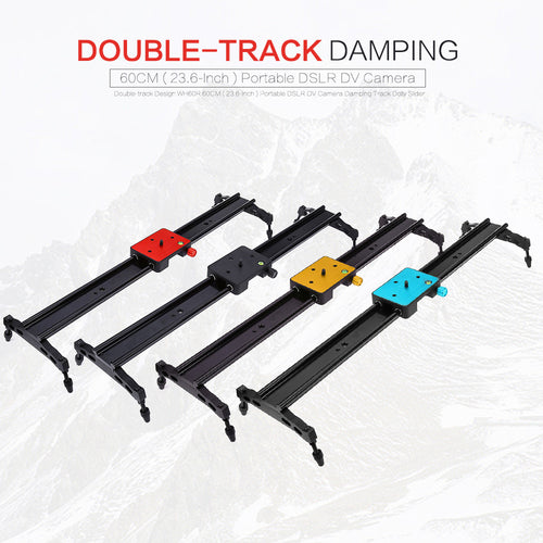 Double-track Design WH60R 60CM ( 23.6-Inch ) Portable DSLR DV Camera Damping Track Dolly Slider Video Stabilizer