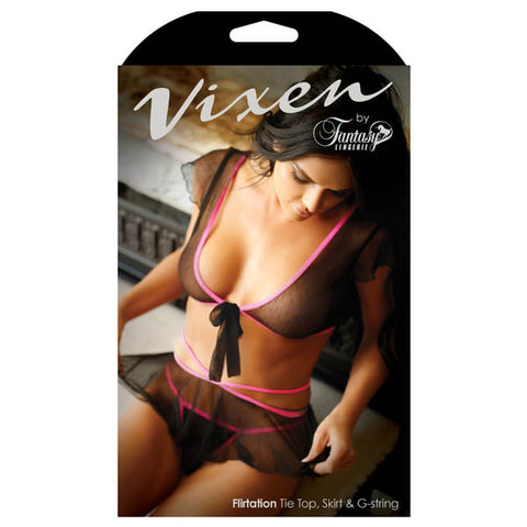 Vixen Flirtation Tie Top, Skirt & G-String