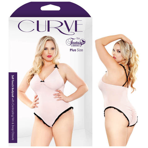 Curve Soft Touch Bodysuit With Contrasting Trim & Snap Closure