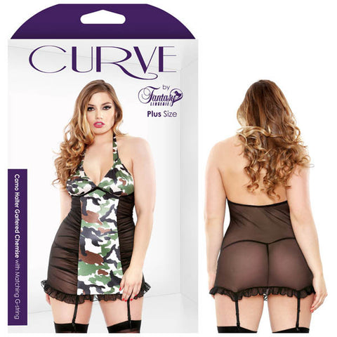 Curve Camo Halter Gartered Chemise With Matching G-string