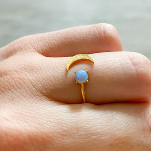 Crescent Opal Ring