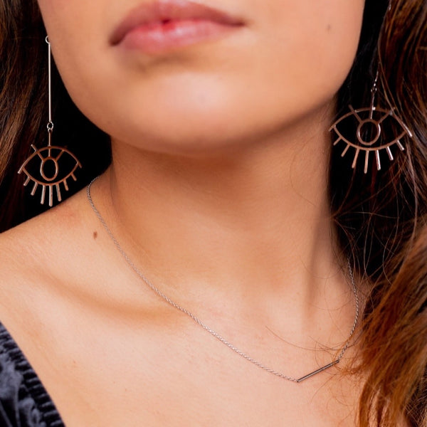 Nazar Drop Earrings - Silver