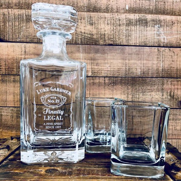 21st Birthday Whiskey Glass Decanter - 27oz