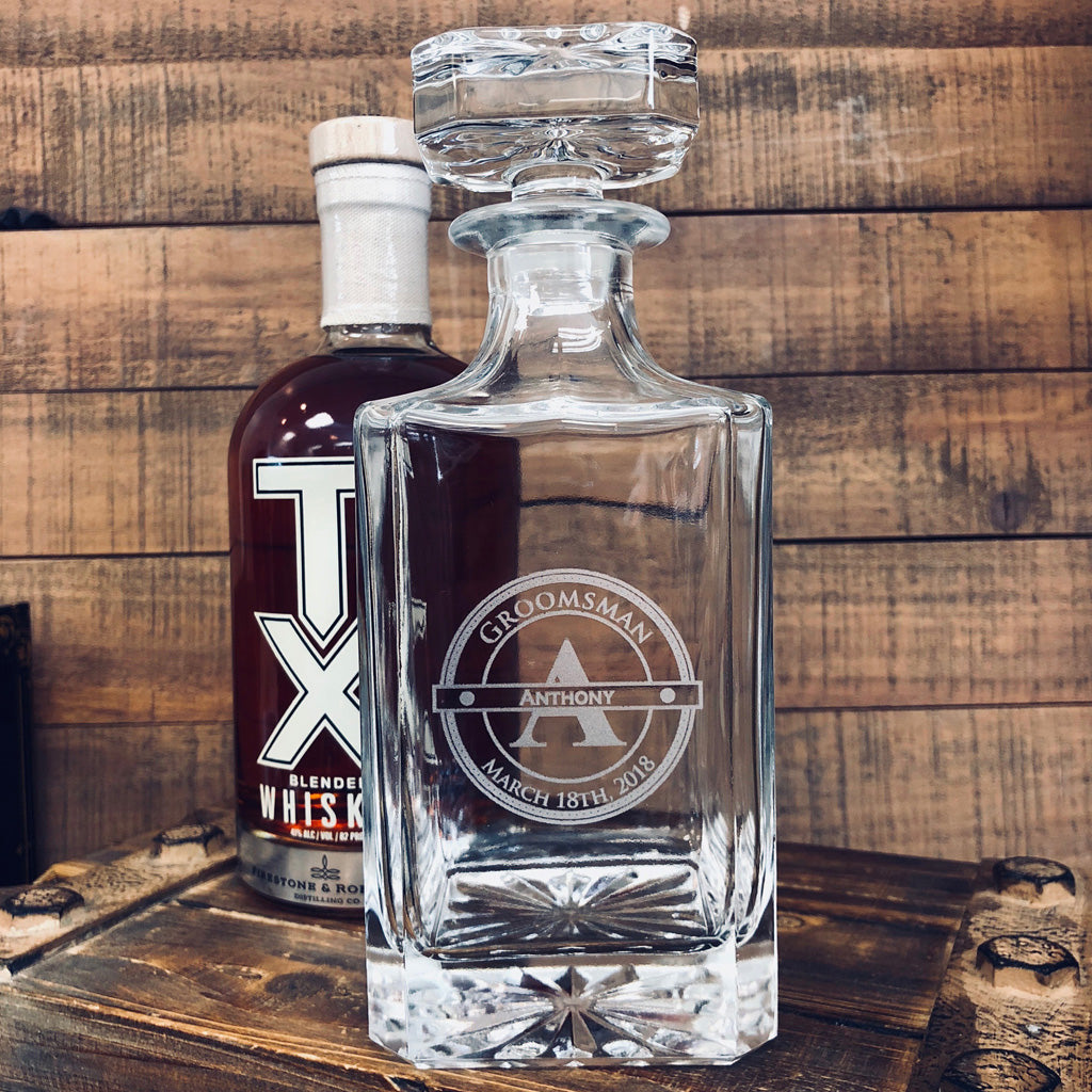Groomsmen Gift - Engraved Whiskey Decanter