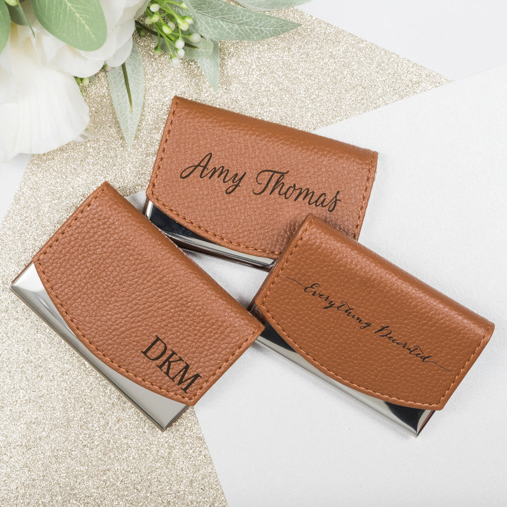 Personalized Business Card Holder - Laser Engraved Custom Card Case ...